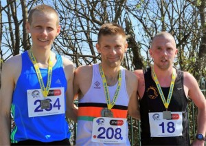 First 3 men in the Great Railway Run 25k from Cork City to Carrigaline...L-R Brian Murphy 1st, Alex O'Shea 2nd & Eric Browne 3rd. Photo : Doug Minihane