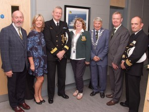 Pictured at the Official Opening of Carrigaline Lions Youth Centre, were from left, James & Cathy O'Sullivan ; Commander Hugh Tully ; Marion Conneely ; Roy Jolly ; Thomas Kelly and Commander Cormac Rynne. (Picture: Adrian O'Herlihy) Sept. 18th 2015